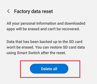 Factory Data reset Samsung Galaxy S9 using Settings