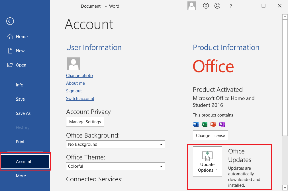 File then go to Accounts then click on Update Options in Microsoft Word