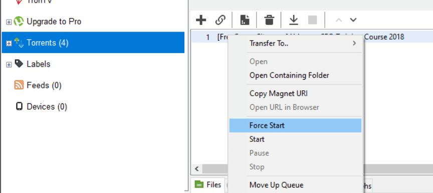 Force Start download in uTorrent   Fix uTorrent Access is Denied Error