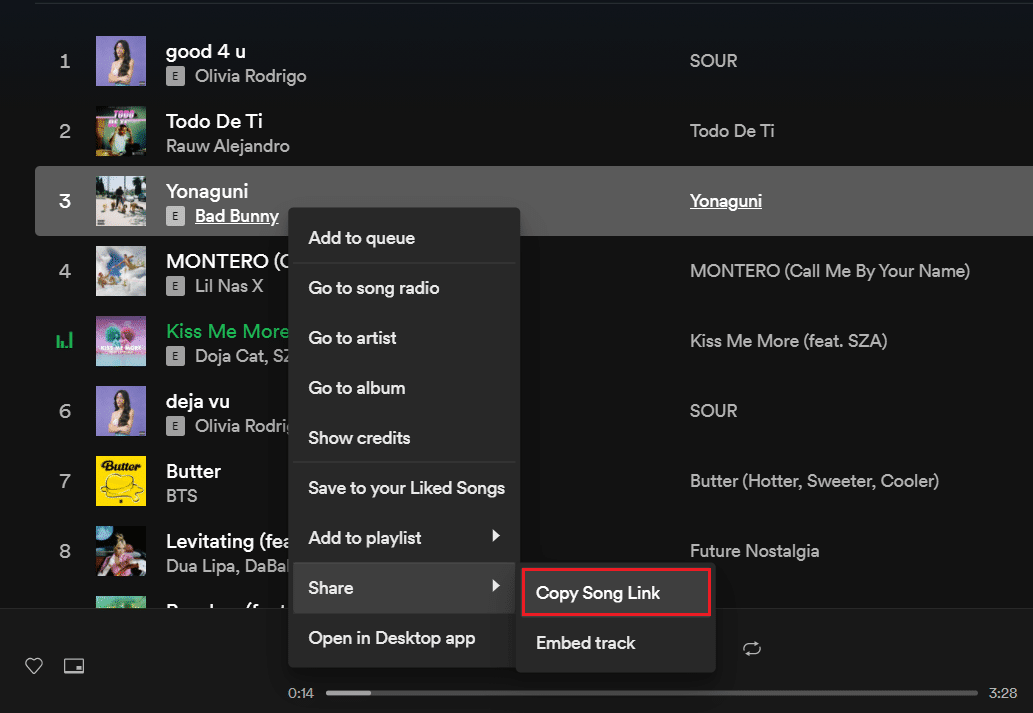 From Spotify Web Player right-click on any song then select Share then Copy Song Link