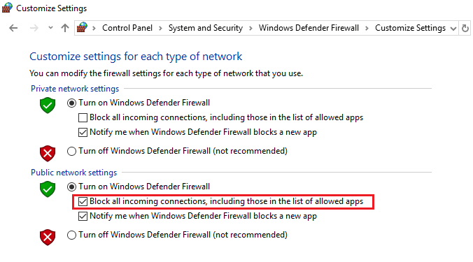 How to Block All Incoming Programs in Windows Firewall