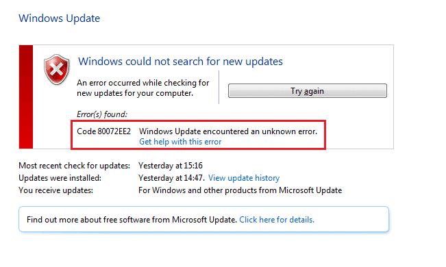 How to Fix Windows update error 80072ee2