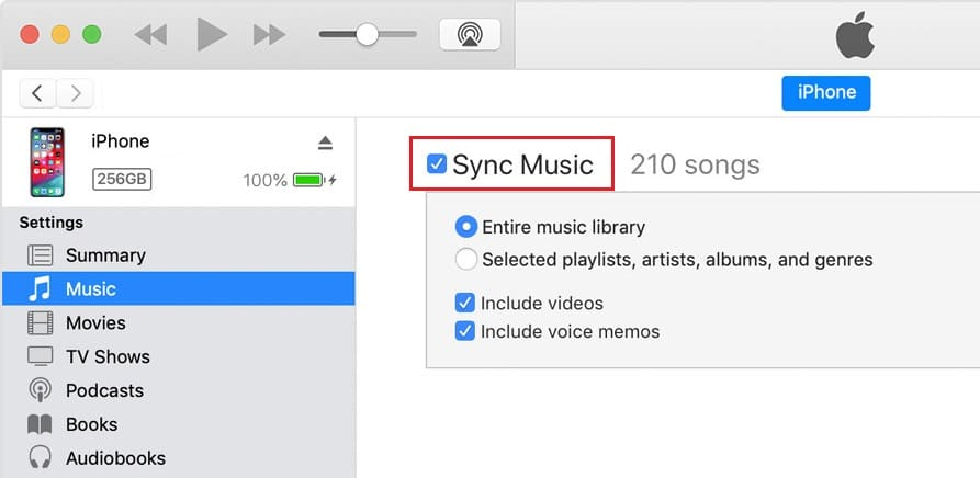 Make sure Sync Music is checked