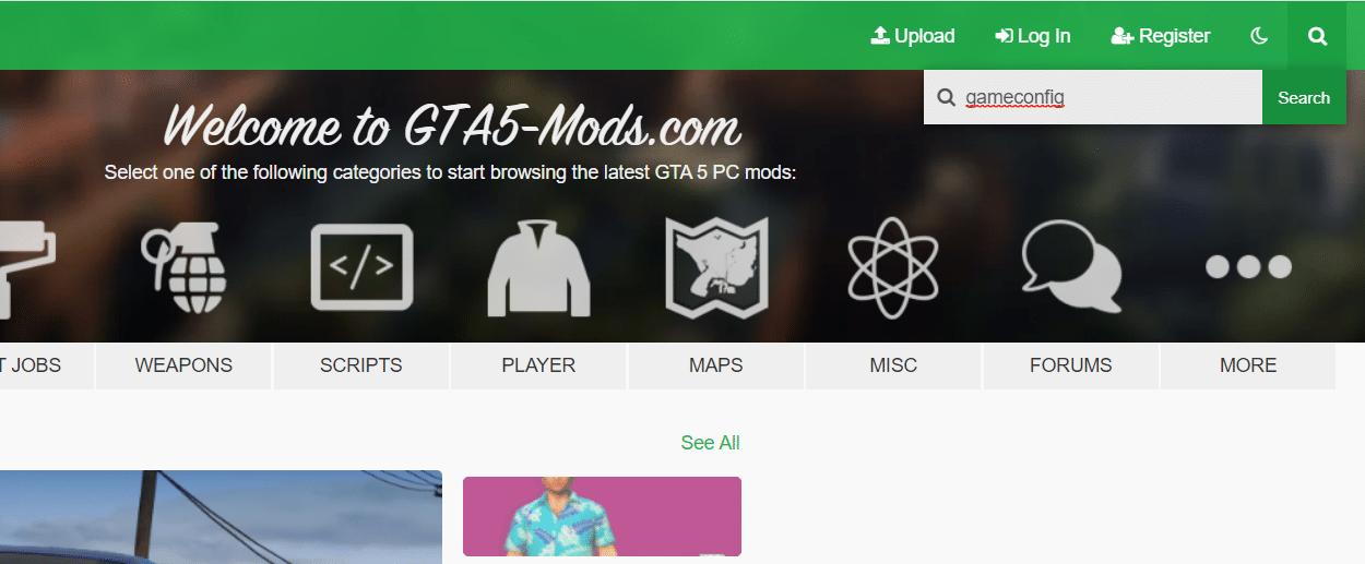 Now, go to the upper portion of the Mod window and click the search button