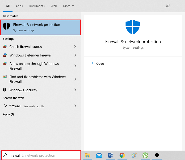 Open Firewall and network protection settings from the search results