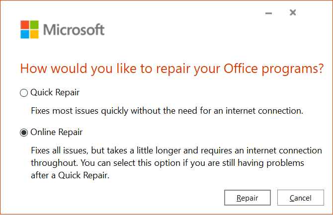 Select Online Repair to fix any issues with Microsoft Office