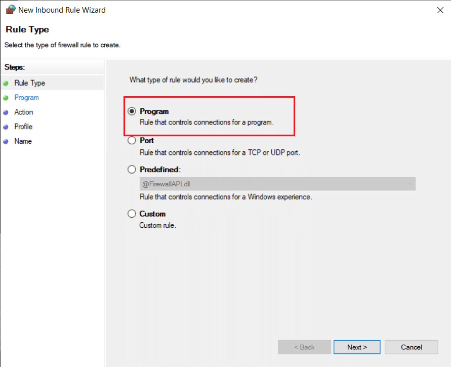 Select Program under the New Inbound Rule Wizard