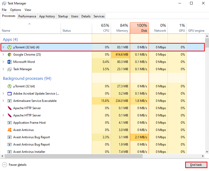 Select the end task from the bottom right of the window screen | Fix uTorrent Not Responding in Windows 10
