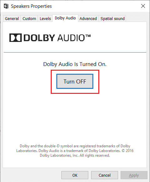 Switch to the Dolby Audio tab, click on the Turn OFF button