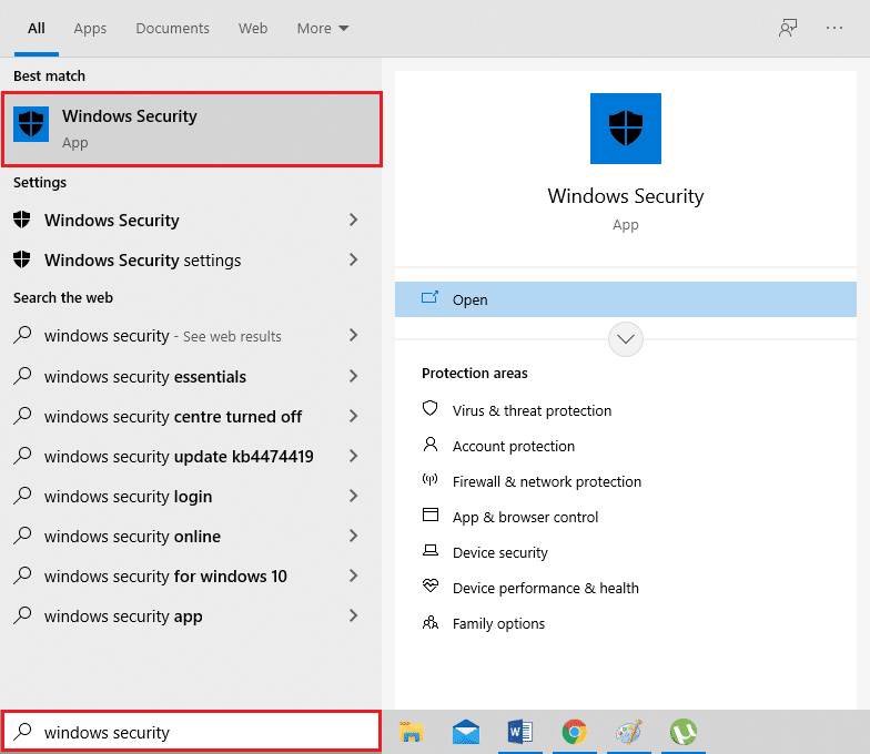 Type Windows Security in the search box, and open the app