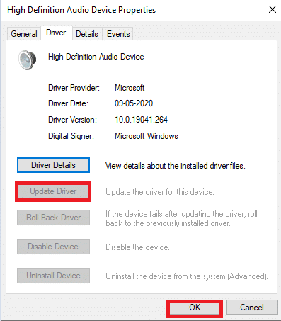 A new window will pop up. Navigate to the Driver tab