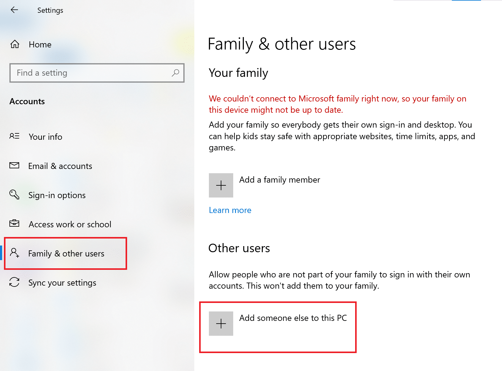 Click on Add someone else to this PC | Fix Windows 10 Apps Not Working