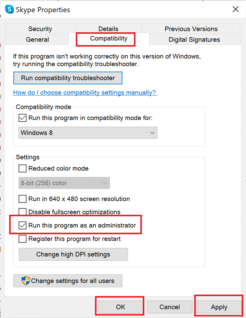 click on Apply and then, click on OK to save these changes