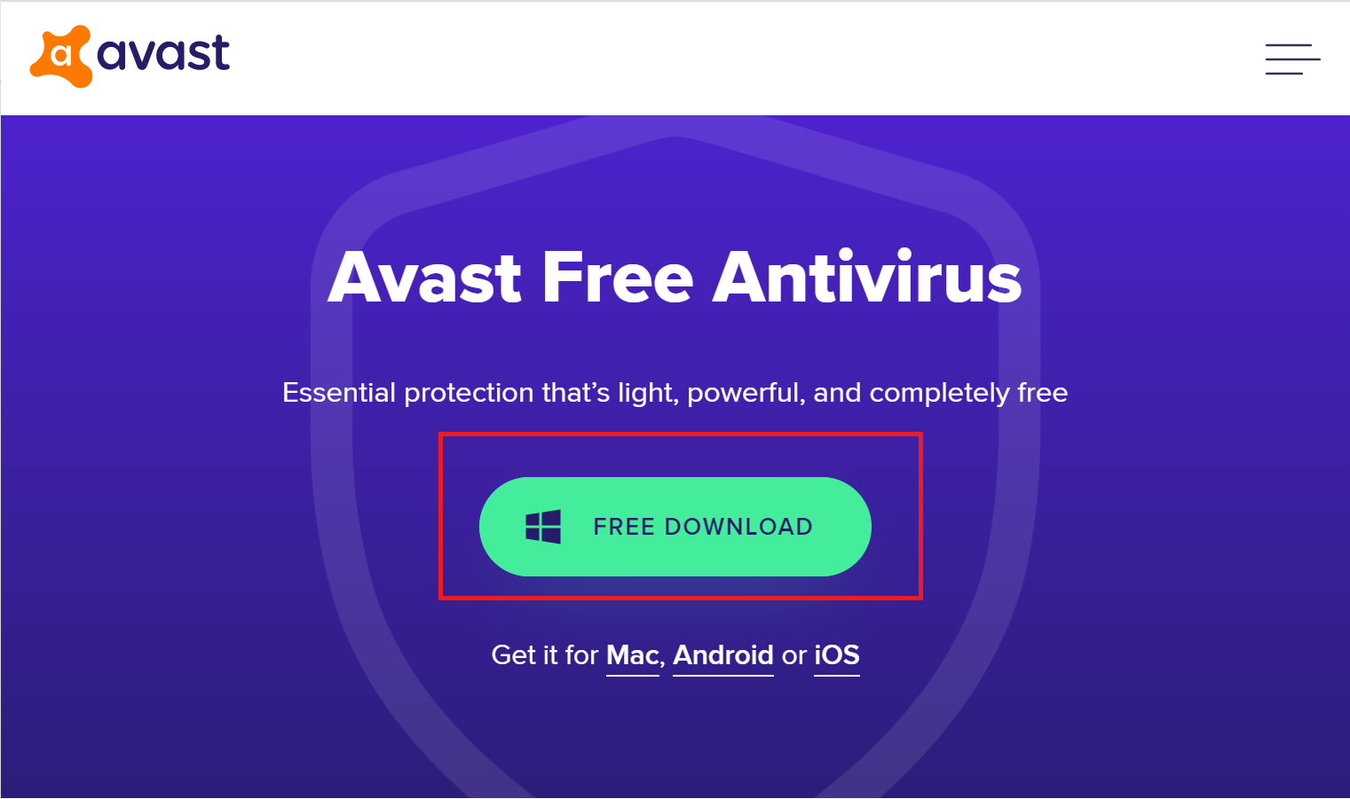 click on free download to download avast