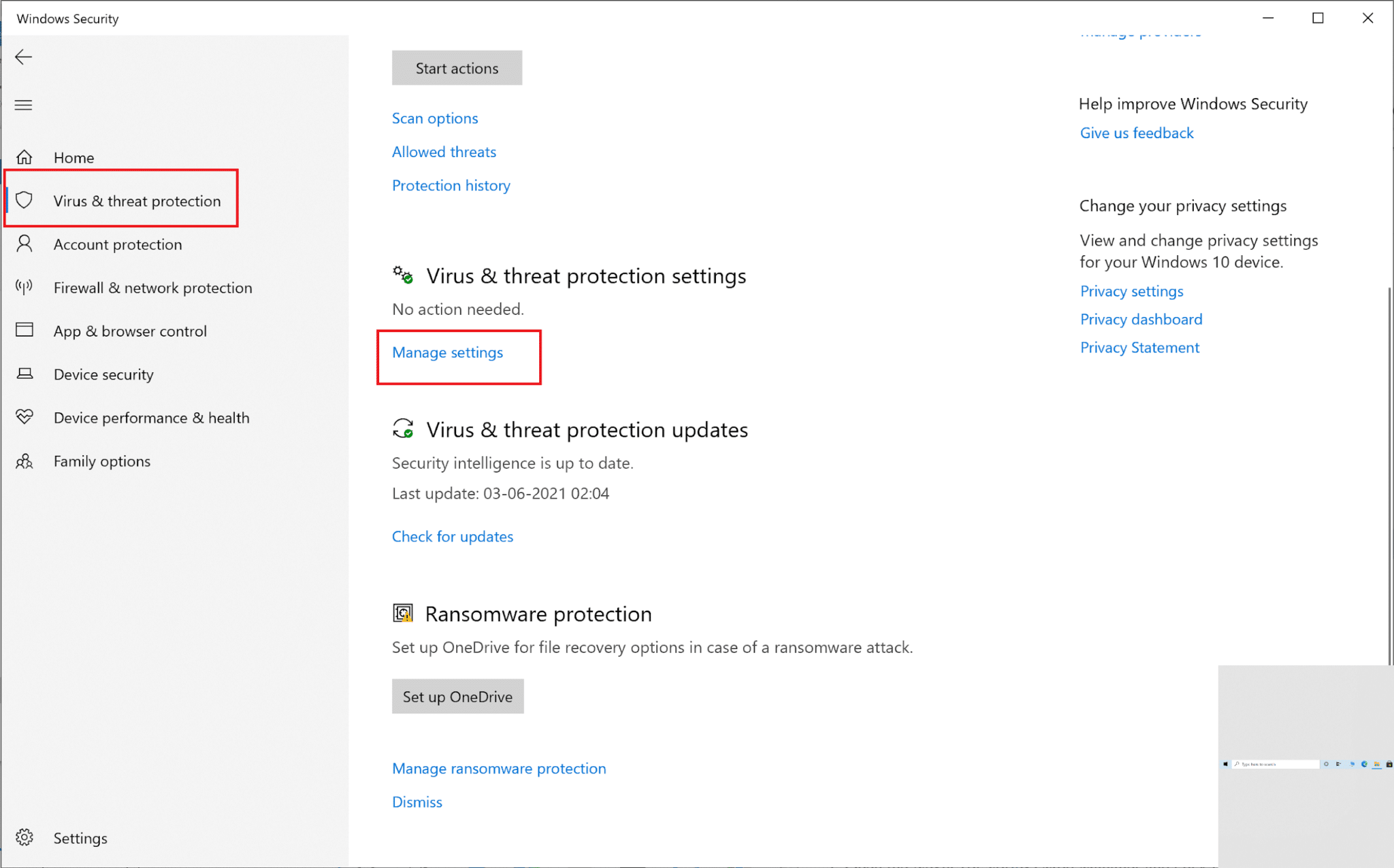 Click on Manage settings