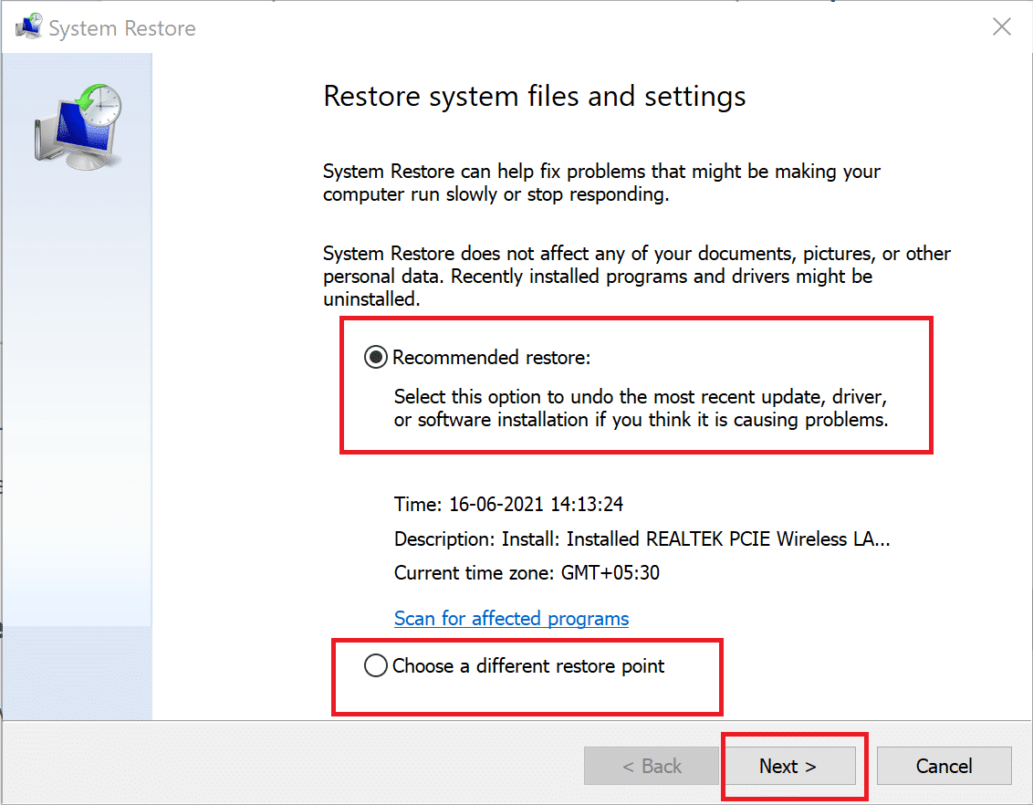 click on Recommended restore
