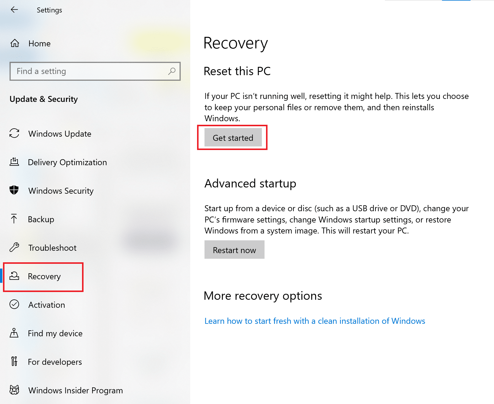Click on Recovery. Then, click on Restart Now under Advanced Startup