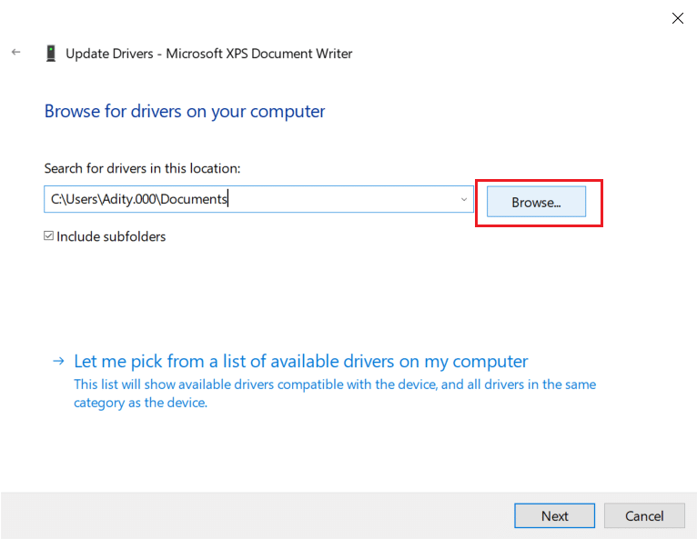 click on the browse button and navigate to printer drivers