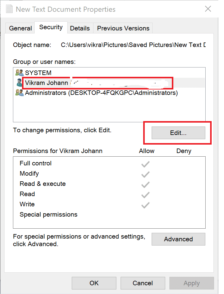 Click on the Security tab. Select your username and then click on Edit | Fix Folder Keeps Reverting to Read-only on Windows 10