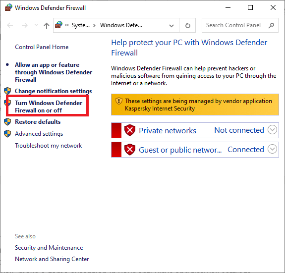 Click the Turn Windows Defender Firewall on or off button on the left side screen | Fixed: League of Legends Slow Download Problem