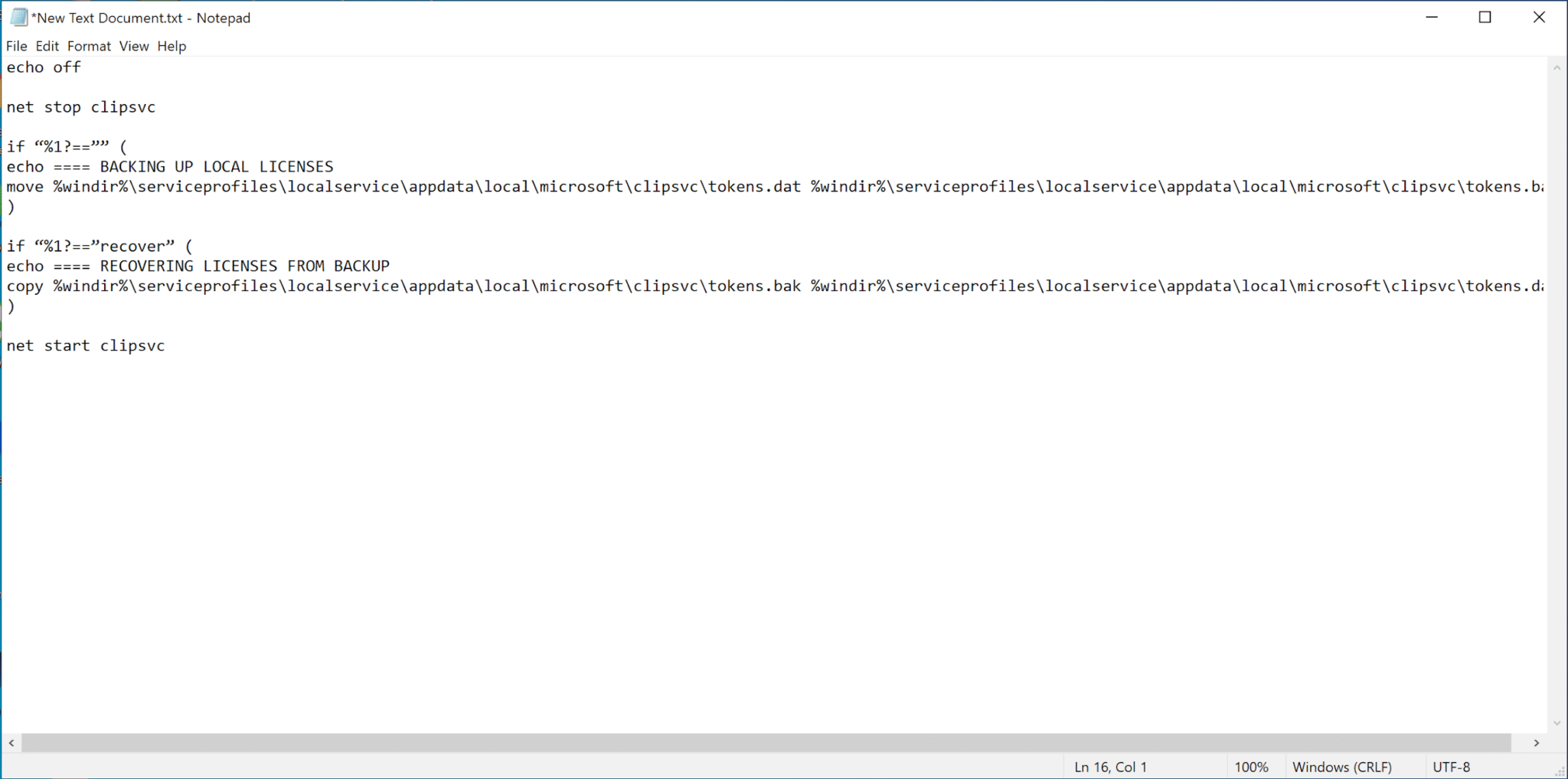 copy-paste the following in the Text Document | Fix Windows 10 Apps Not Working