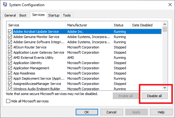 Disable all by clicking the Disable all option.| Uplay Fails to Launch