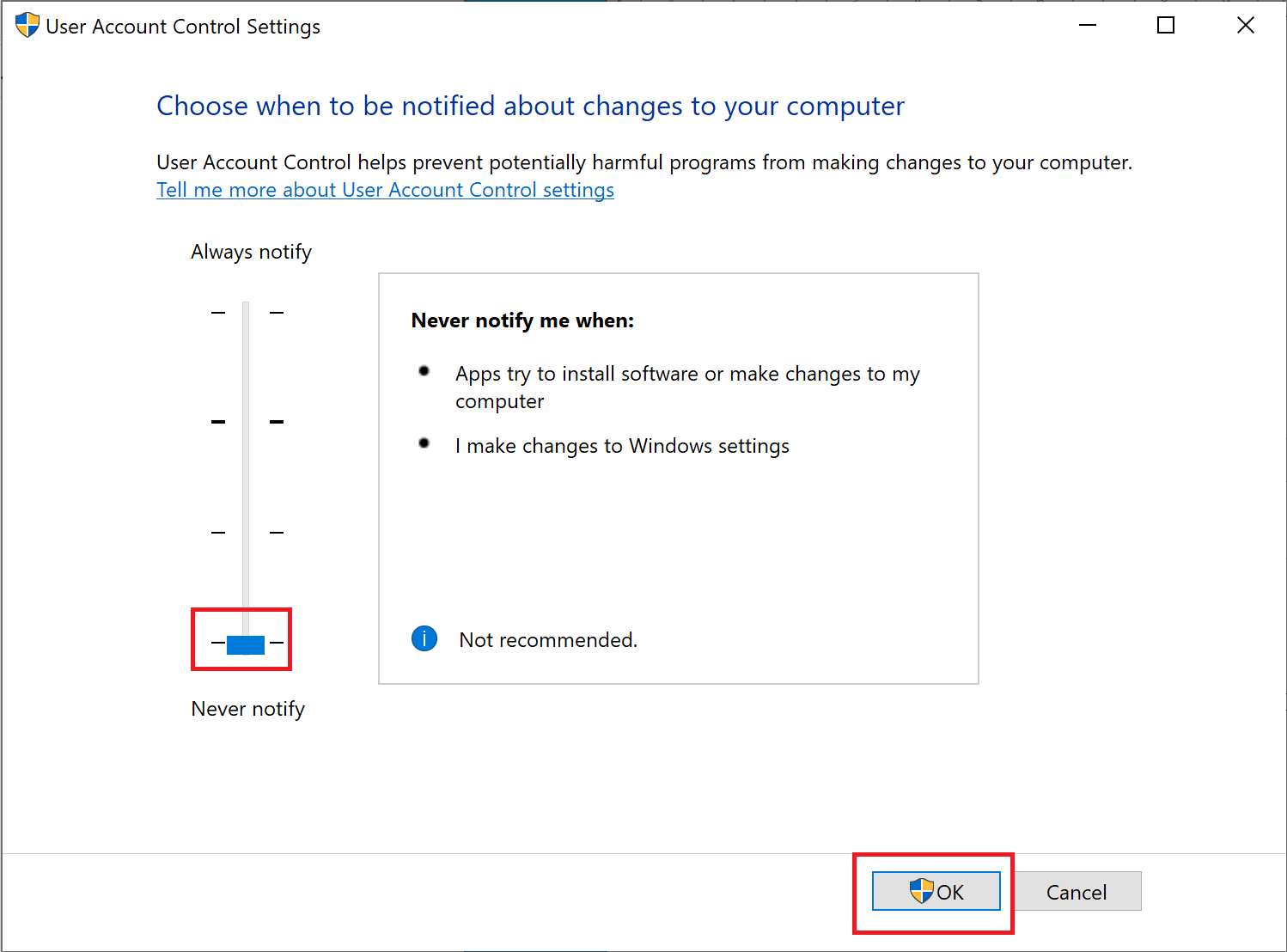 Drag the slider to Never notify displayed on the left-hand side of the new window and click on Ok