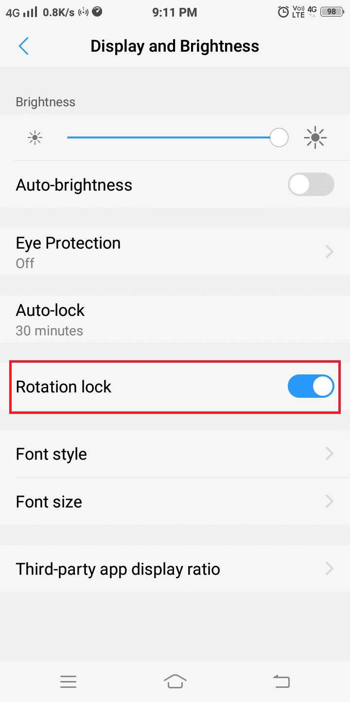 Enable Rotation lock.