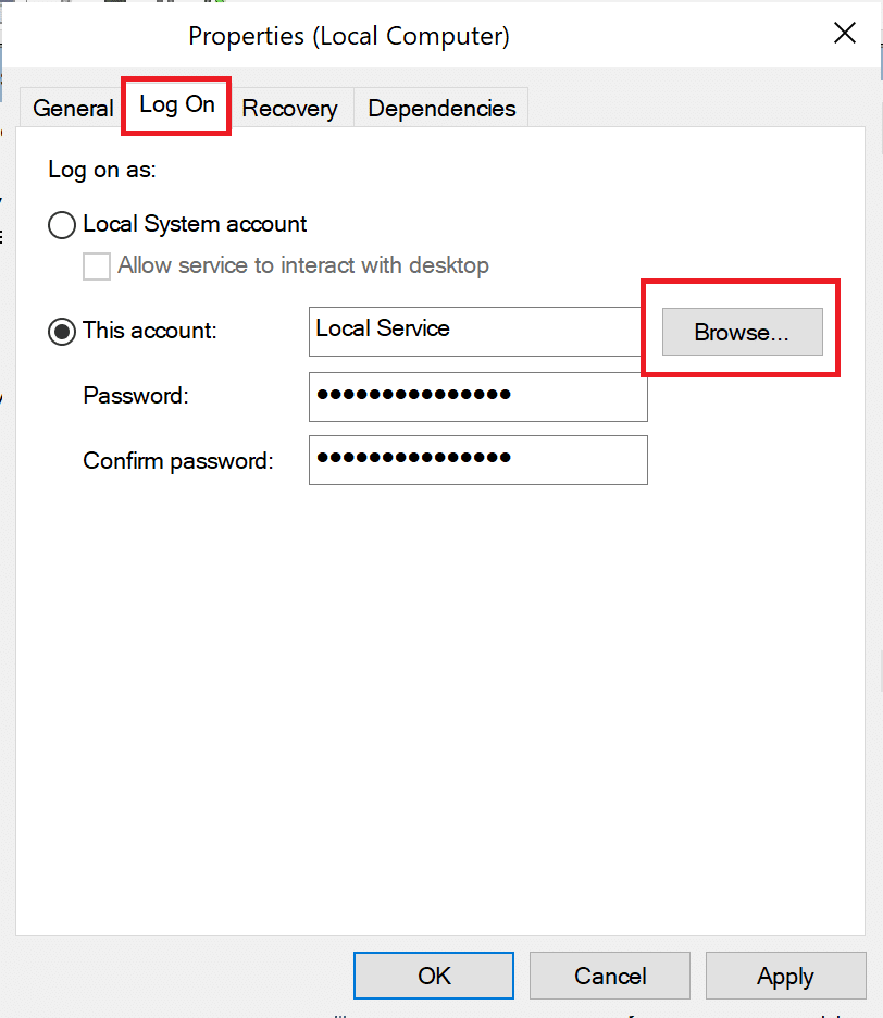 go to log on tab in service Properties window | How to Fix Avast Web Shield Won't Turn on