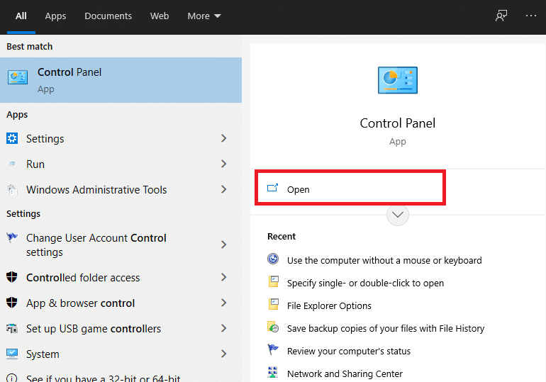 Go to the Search menu and type Control Panel.
