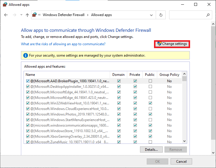 Here, click on Change settings. | Fix Windows 10 Network Sharing Not Working