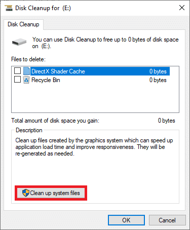 Here, click on Clean up system files