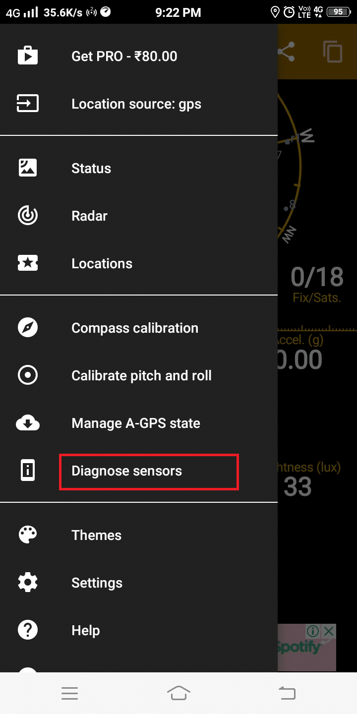 Here, click on Diagnose sensors   Android Screen Won't Rotate-Fixed