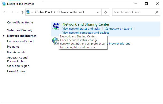 Here, click on Network and Sharing Center.