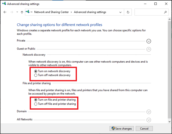 Here, expand the Guest or Public option and check Turn on network discovery and Turn on file and printer sharing | Fix Windows 10 Network Sharing Not Working