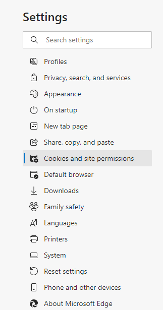 Here, navigate to Cookies and site permissions and click on it.