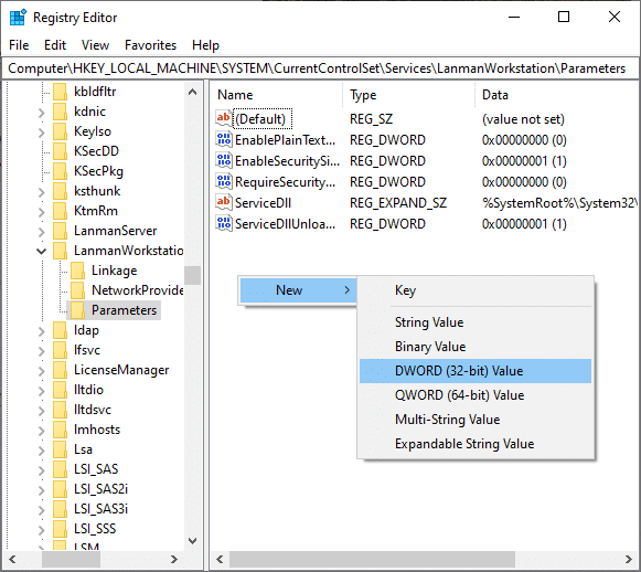 If the AllowInsecureGuestAuth key does not appear on the screen, you have to create one. Then, right-click on the screen and click on New followed by DWORD (32-Bit) Value.