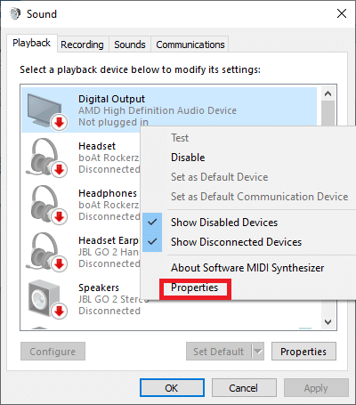 In the Playback tab Select the Playback device that is causing you problems right-click on it and then choose Properties