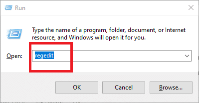 In the Run box, type regedit and hit Enter