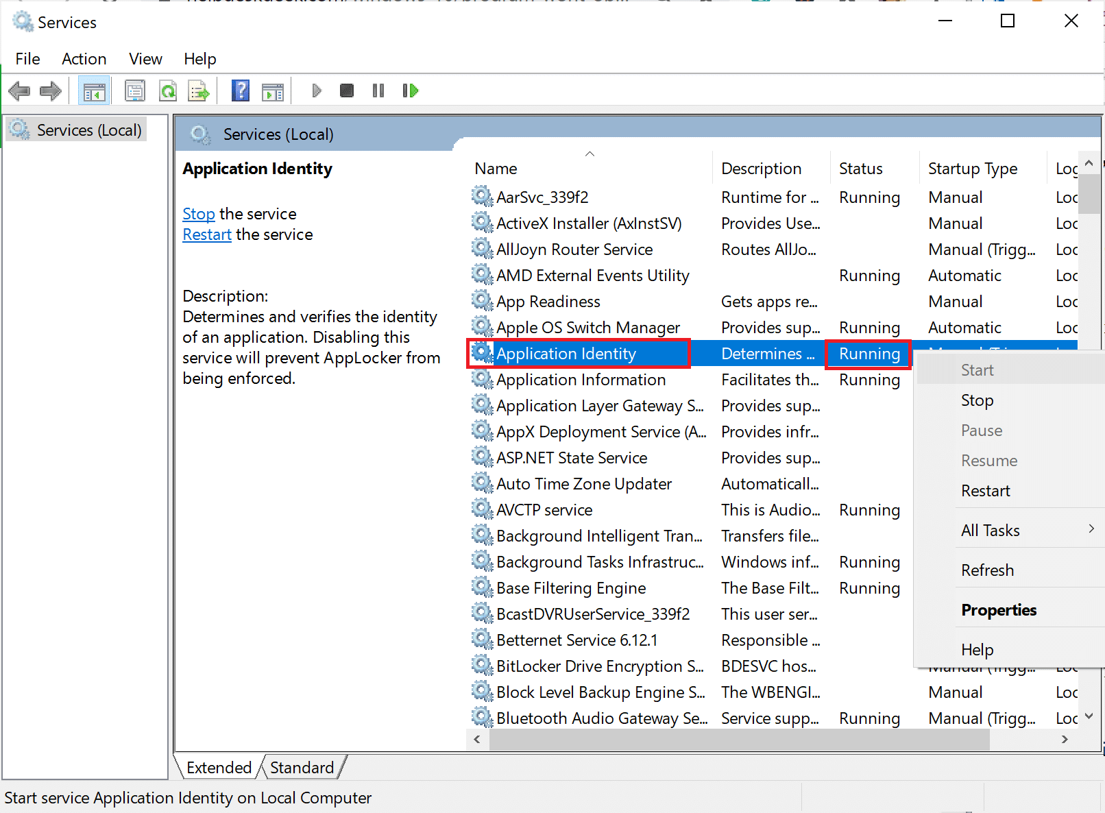 locate Application Identity in the Services window | Fix Windows 10 Apps Not Working