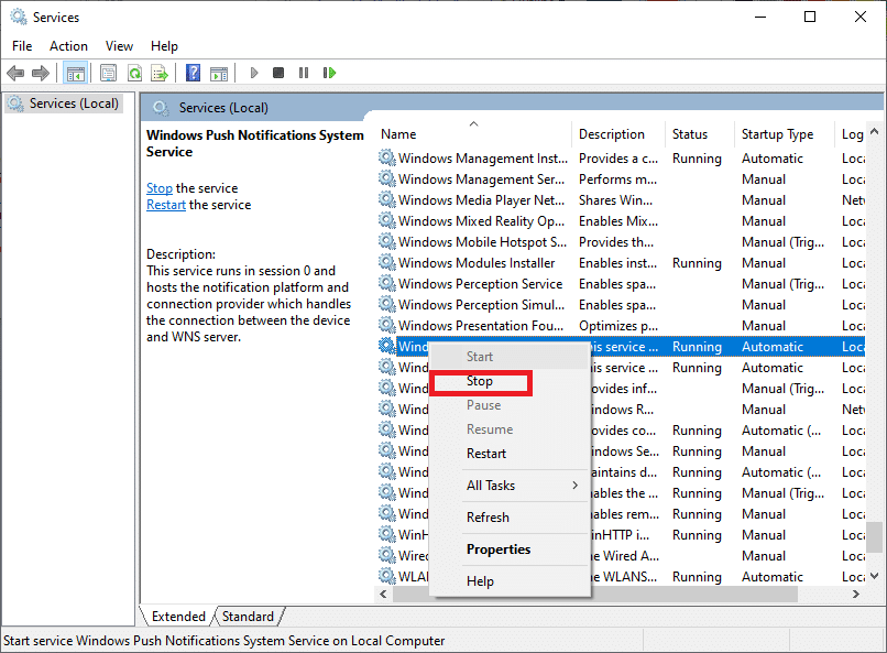 . Locate the Windows Update service in the services console. Select Stop