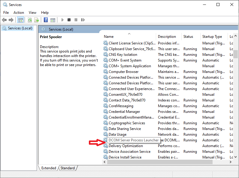 Navigate to the Services window again and search for DCOM Server Process Launcher.