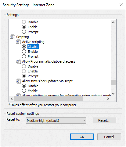 Now, click on Disable icon under Active scripting and click on OK | How to Enable/Disable JavaScript in Your Browser