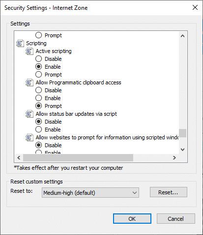 Now, click on Enable icon under Active scripting and click on OK.