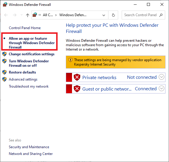 Now click the allow an app or feature through Windows Defender Firewall