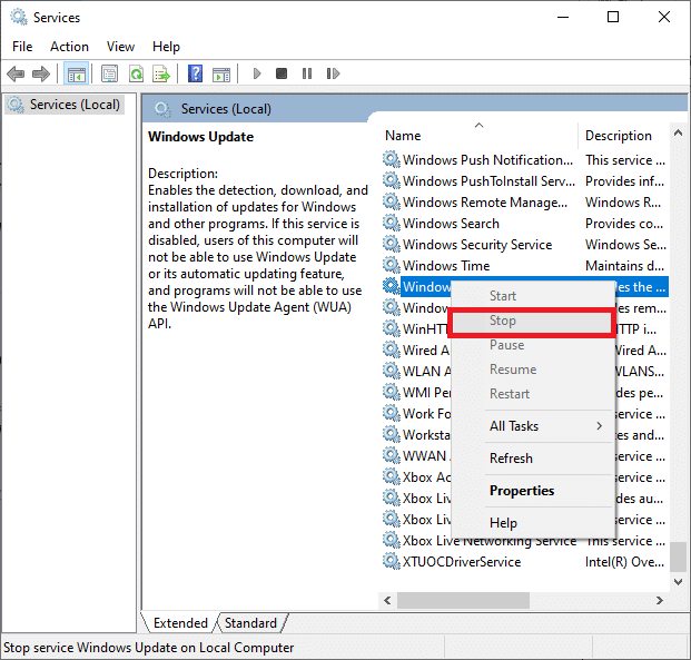 Now, right-click on Windows Update and select Stop | How to Delete Temp Files in Windows 10