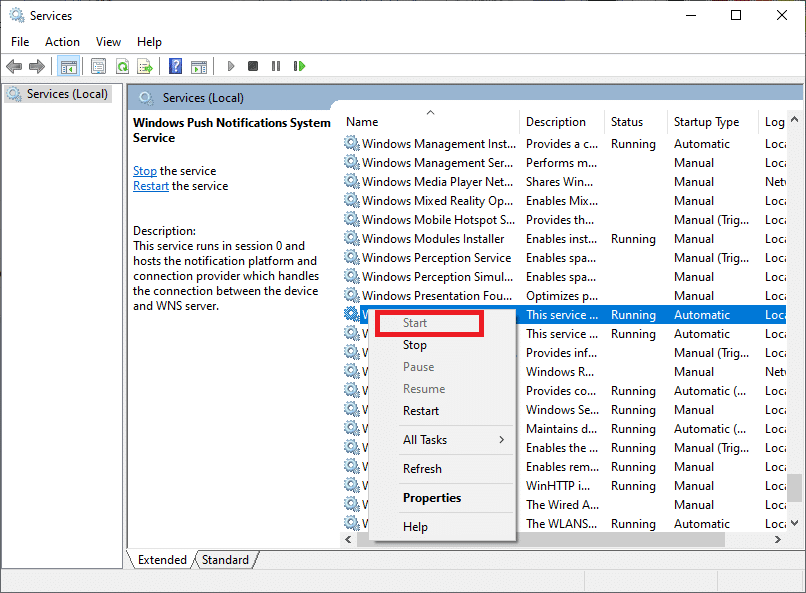 Now right-click Windows Update service and select Start | Easily Fix Windows Update Error 80072ee2