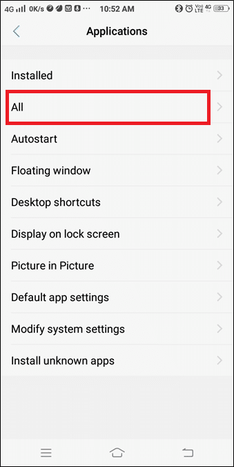 Now, select Applications and navigate to All Applications | How to fix Icons Disappear from Home Screen Android