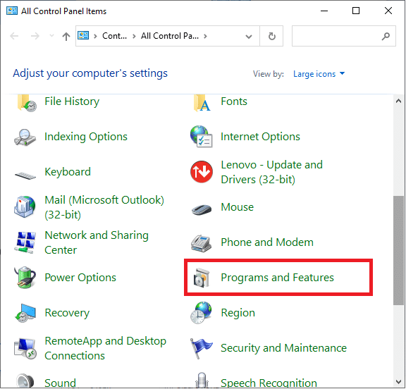 Now Select Program and Features.