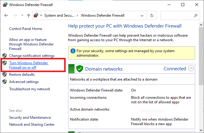Now, select the Turn Windows Defender Firewall on or off option at the left menu
